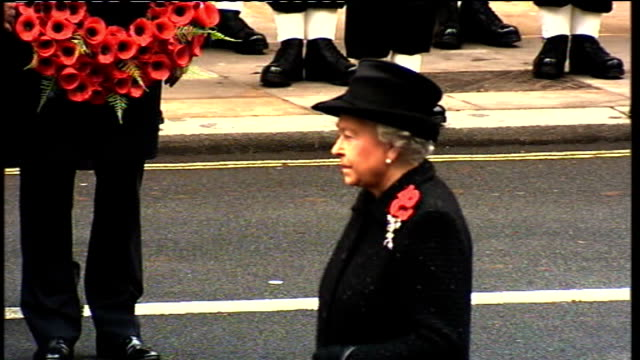 remembrance sunday commemorations cenotaph service queen elizabeth accompanied by prince philip duke of edinburgh and prince charles prince of wales... - remembrance sunday stock videos & royalty-free footage