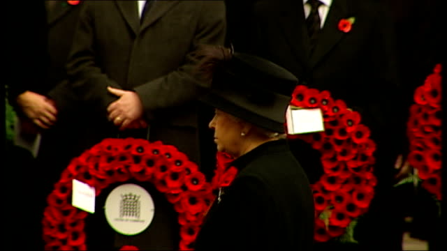 remembrance sunday commemorations cutaway shots at cenotaph ceremony queen elizabeth ii leads out royal family members including prince philip prince... - remembrance sunday stock videos & royalty-free footage