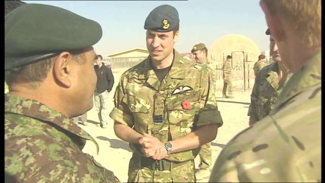 vídeos de stock e filmes b-roll de prince william meets nato troops at camp bastion low angle view prince william and liam fox towards with other military / prince william introduced... - exército nacional afegão