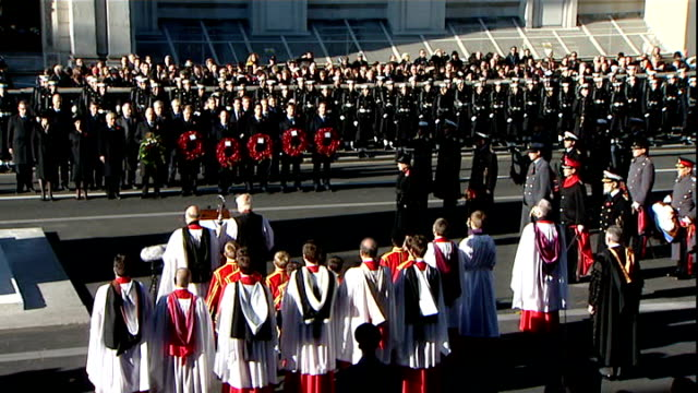 remembrance sunday events held across the country england london whitehall ext queen elizabeth ii political leaders and crowds standing in silence to... - remembrance sunday stock videos & royalty-free footage