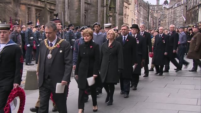 remembrance sunday in edinburgh; scotland: edinburgh: ext nicola sturgeon msp arrives with other dignitaries for remembrance day ceremony - remembrance day stock videos & royalty-free footage