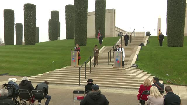 national memorial arboretum service; england: staffordshire: national memorial arboretum: ext service part 1 of 6 people observing silence at... - national memorial arboretum stock videos & royalty-free footage