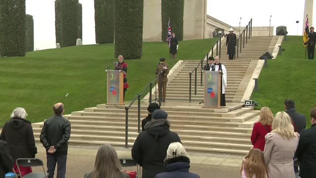 national memorial arboretum service; england: staffordshire: national memorial arboretum: ext service part 3 of 6 people standing and observing... - remembrance sunday stock videos & royalty-free footage
