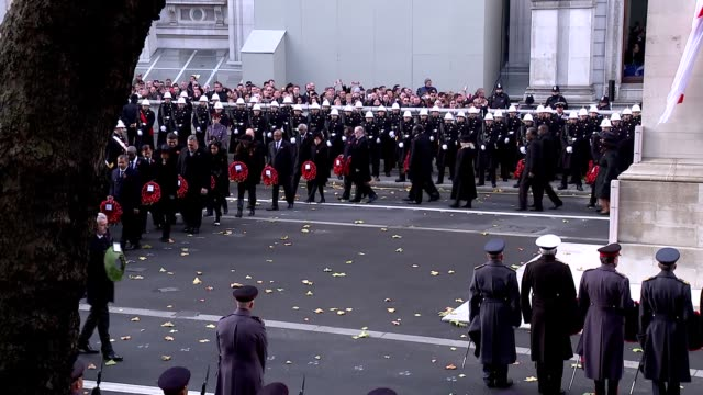 prince charles lays wreath at cenotaph england london whitehall ext clergy and politicians taking their places for the ceremony / theresa may mp... - remembrance sunday stock videos & royalty-free footage