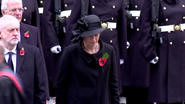 prince charles lays wreath at cenotaph prince charles leading the royal party away / politicians away / various of exservicemen marching past the... - remembrance sunday stock videos & royalty-free footage