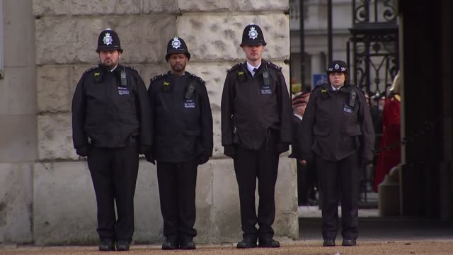 prince charles lays wreath on queen's behalf police officers stood during minute's silence - remembrance sunday stock videos & royalty-free footage