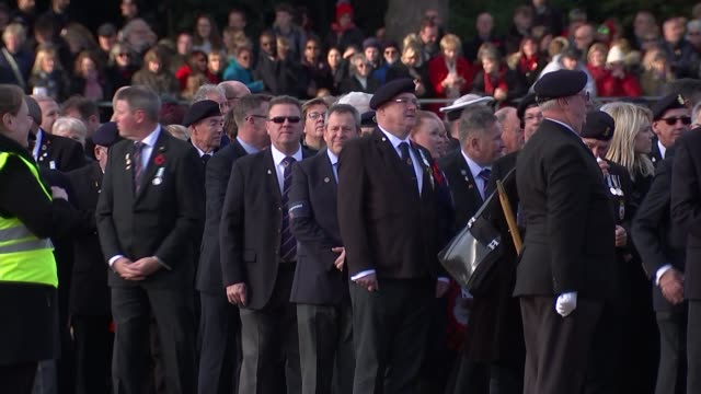 prince charles lays wreath on queen's behalf england london whitehall horse guards parade ext various shots veterans assembling for remembrance day... - remembrance sunday stock videos & royalty-free footage