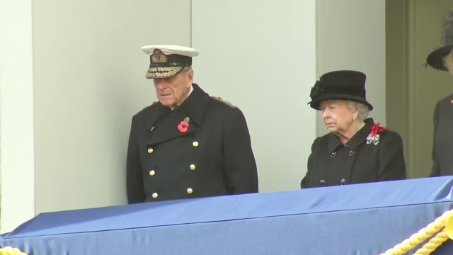 queen and duke of edinburgh watch from balcony england london whitehall ext queen elizabeth ii standing on balcony with prince philip duke of... - remembrance sunday stock videos & royalty-free footage