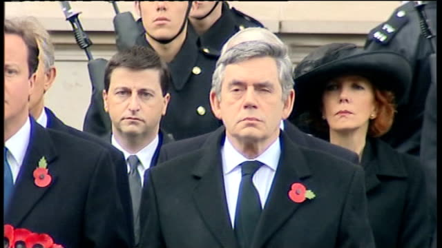 remembrance sunday queen lays wreath at cenotaph ***to england london whitehall ext various shots of politicians led by gordon brown mp david cameron... - remembrance sunday stock videos & royalty-free footage