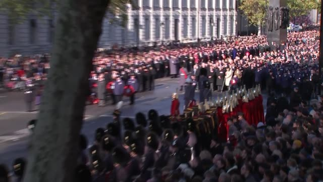 royals and politicians attend ceremony at whitehall; england: london: westminster: trumpeters of the royal air force sounding rouse sot / royals... - remembrance sunday stock videos & royalty-free footage