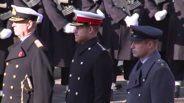 royals and politicians attend ceremony at whitehall; england: london: westminster: nigel dodds along / lindsay hoyle / prince charles / prince harry,... - remembrance sunday stock videos & royalty-free footage