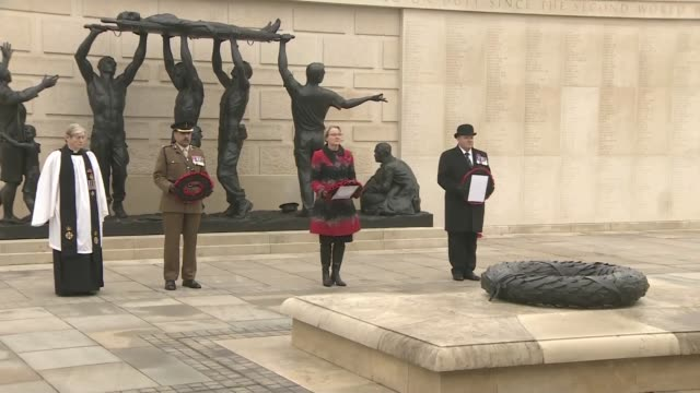 remembrance sunday service at the national memorial arboretum in alrewas, staffordshire, which was broadcast to others via facebook and youtube. - national memorial arboretum stock videos & royalty-free footage