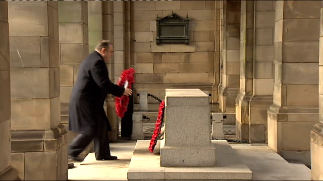 remembrance sunday services at cenotaph around the country and afghanistan scotland edinburgh alex salmond msp laying wreath at the stone of... - royal mile stock videos and b-roll footage