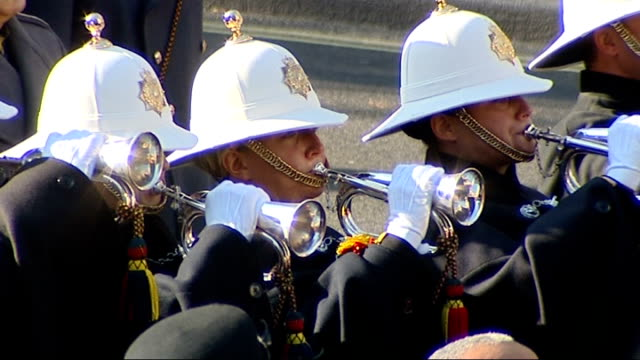 """remembrance sunday services at cenotaph; cenotaph as """"the last post"""" is played by buglers of the band of the royal marines - royal marines stock videos & royalty-free footage"""