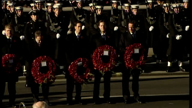 remembrance sunday services at cenotaph; england: london: whitehall: ext soldiers and clergy standing close to the cenotaph as politicians line up in... - minister clergy stock videos & royalty-free footage