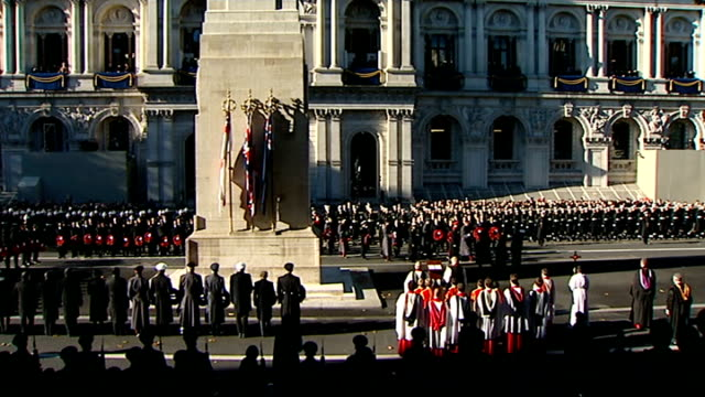 remembrance sunday special pab; high angle view people at cenotaph for remembrance service queen elizabeth ii along with prince philip, duke of... - remembrance sunday stock videos & royalty-free footage