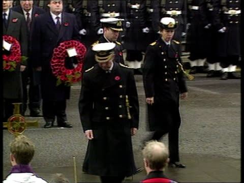 wreath laying at cenotaph:; d)13.00: juliet bremner bbc pool england: london: whitehall: ext tlms bandleader in front of cenotaph conducting guards'... - remembrance sunday stock videos & royalty-free footage