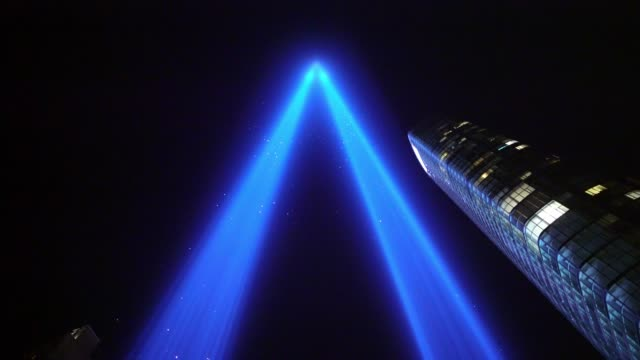 9/11 remembrance - tribute in light - september 11 2001 attacks stock videos and b-roll footage