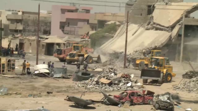 remnants of bombing damage from august 23 suicide bombing in kirkuk - damaged stock videos & royalty-free footage