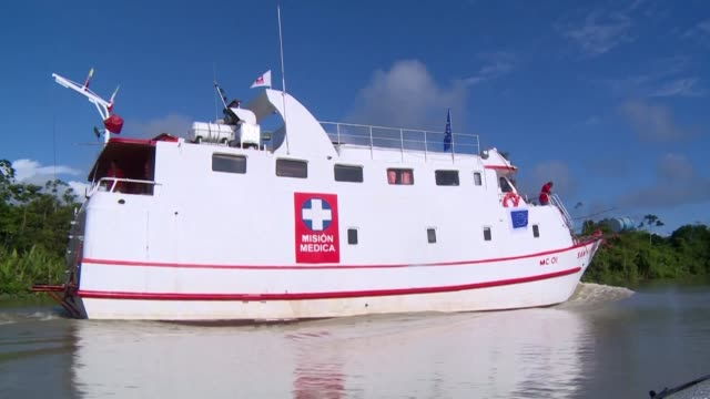 remote communities in colombia receive access to medical care thanks to the san raffaele hospital boat a floating hospital that travels along... - pacific war stock-videos und b-roll-filmmaterial