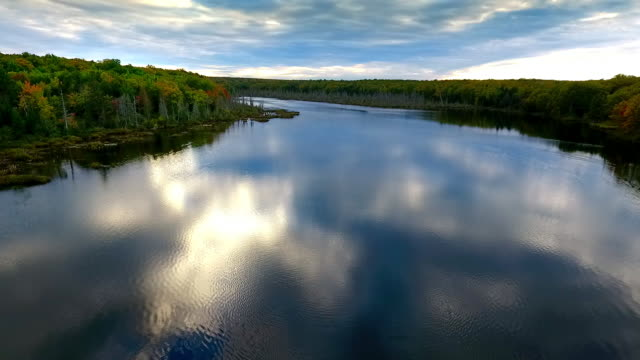 remote lake in the upper peninsula of michigan from above - michigan stock videos & royalty-free footage