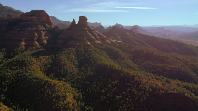remote scenic aerial view on the mountains in slide rock state park in sedona arizona, from the scenic route 89a. drone video. - sedona stock videos & royalty-free footage