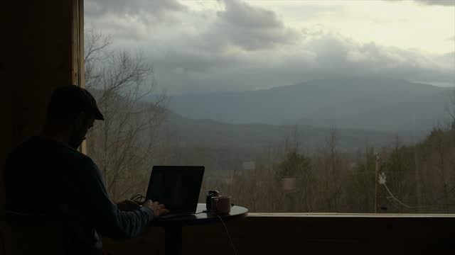 remote working at cabin in great smokey mountains - coffee drink stock videos & royalty-free footage