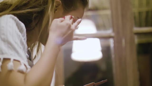 4k : removing make-up eyelash - absence stock videos & royalty-free footage