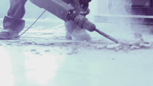 SLOW MOTION removing tiles with jackhammer