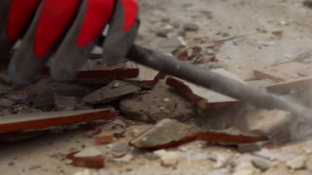 removing tiles with jackhammer - flooring stock videos & royalty-free footage