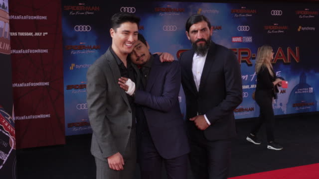 remy hii tony revolori and numan acar at the world premiere of spiderman far from home on june 26 2019 in hollywood california - full suit stock videos & royalty-free footage