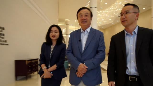 Ren Zhengfei Founder and President of Huawei walking through headquarters in Shenzhen