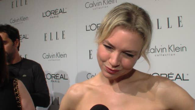 ren_e zellweger on being here on women she admires on the joys her career has afforded her at the elle's 16th annual women in hollywood tribute at... - renée zellweger stock videos and b-roll footage