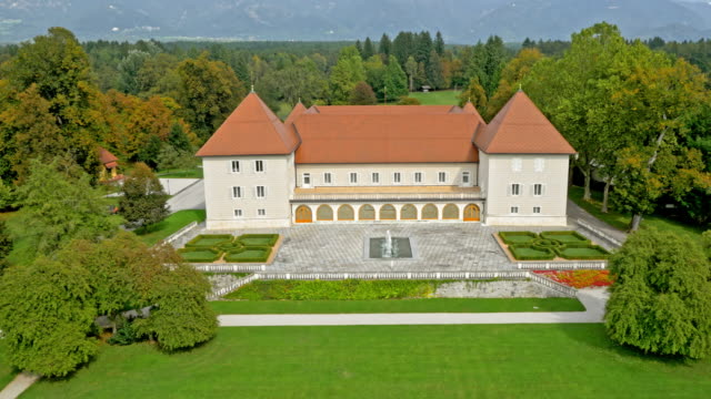 aerial renaissance castle brdo on a sunny day - fountain stock videos & royalty-free footage