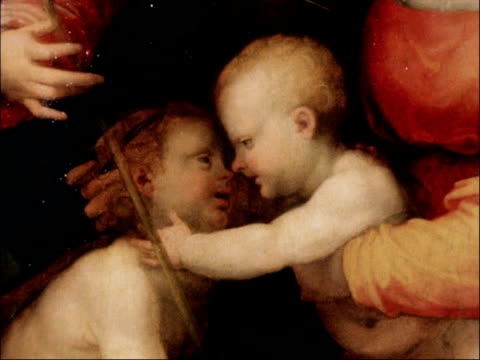 renaissance painting expected to fetch one million pounds at auction; england: london: christies: int 'the madonna and child in a landscape with... - ルネッサンス様式点の映像素材/bロール