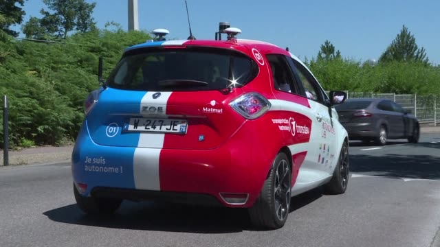 renault and public transport provider transdev launch a fleet of experimental self driving cars in the french city of rouen with some of the... - fleet of vehicles stock videos and b-roll footage