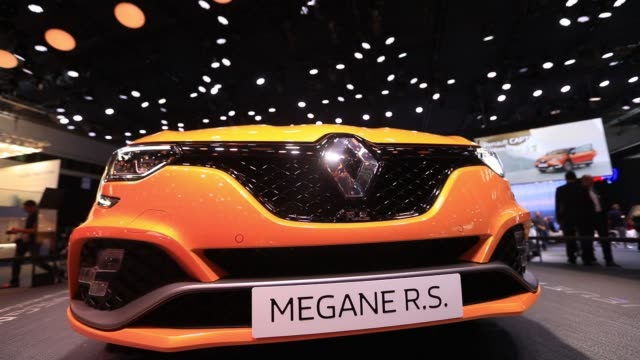 A Renault SA Megane RS automobile sits on display during the second media preview day of the IAA Frankfurt Motor Show in Frankfurt Germany on...