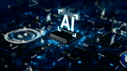 3D Render animation of AI Artificial intelligence in CPU chipset central processor unit and electric print circuit board with data traffic light on dark and grain processed