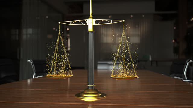 3d render of paragraphs ascending from scales on conference table - sentencing stock videos & royalty-free footage