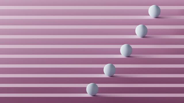 stockvideo's en b-roll-footage met 3d render of white spheres rolling on pink lines - vijf dingen