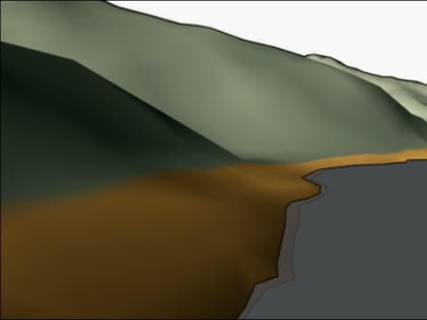 vídeos de stock e filmes b-roll de render visualisation of roads at water edge, animation - water's edge