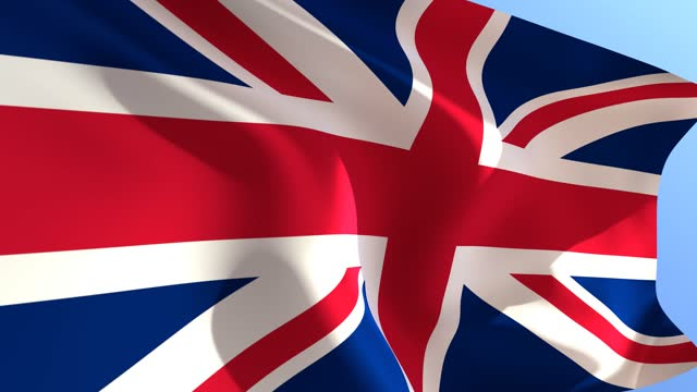 3d render. waving flag of great britain on black blue sky background. uk flag. - politics abstract stock videos & royalty-free footage