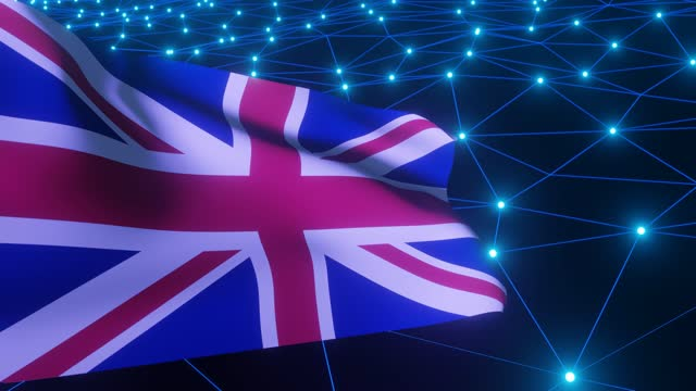 3d render. waving flag of great britain on sci-fi technology background. waving connection dots. uk flag. - politics abstract stock videos & royalty-free footage