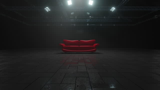 3d rendered animation of shiny red leather sofa in dark room - wide shot stock videos & royalty-free footage