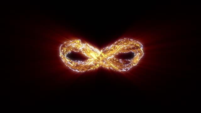 3d rendered gold energetic infinity loop backdrop - symbol stock videos & royalty-free footage