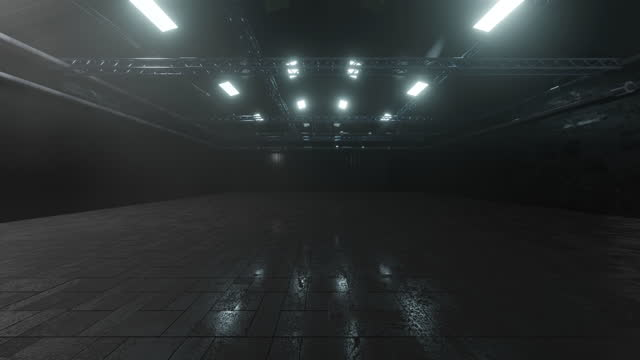 3d rendered illustration of dark industrial storage facility - wide shot stock videos & royalty-free footage