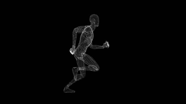 3d rendered running male man character for your projects as hud design with matte - muscular build stock videos & royalty-free footage