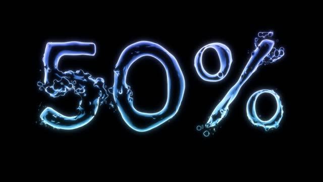 3d rendered splash 50% looping water typography - typescript stock videos & royalty-free footage