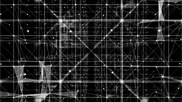 vidéos et rushes de rendu 3d abstrait réseau et les points dans l'espace cybernétique, formation scientifique - triangle forme bidimensionnelle