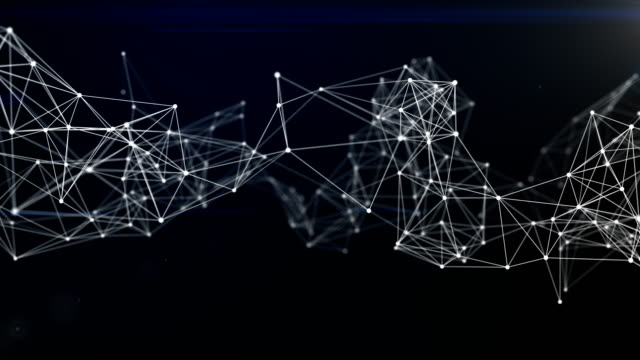 3d rendering abstract network connections and dots on dark background, technology concept background - plexus stock videos & royalty-free footage